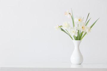 spring flowers in white vase
