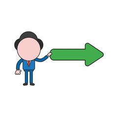Vector illustration of businessman character holding arrow pointing right. Color and black outlines.