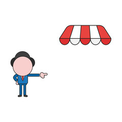 Vector illustration of businessman character pointing store with awning. Color and black outlines.