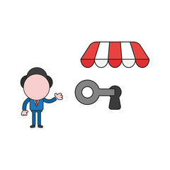 Vector illustration of businessman character lock or unlock keyhole with key under store awning. Color and black outlines.