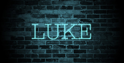 first name Luke in blue neon on brick wall