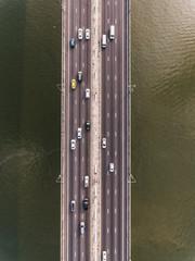 Aerial shot of bridge over river