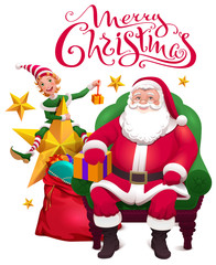 Merry christmas greeting card. Santa Claus is sitting in chair, assistant elf and an open bag with gifts
