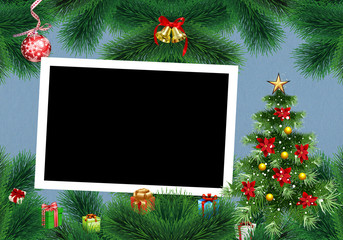 christmas background with frame and flowers