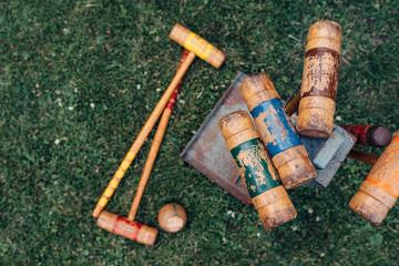 Wooden croquet set on a lawn