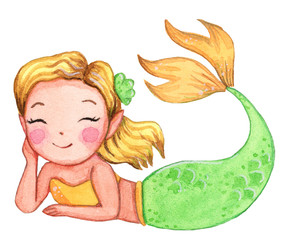 Cute watercolor mermaid