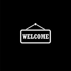 Welcome icon or logo, Word welcome on dark background