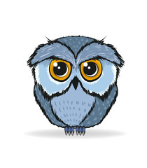 Funny owl on a white background. Cute vector owl.
