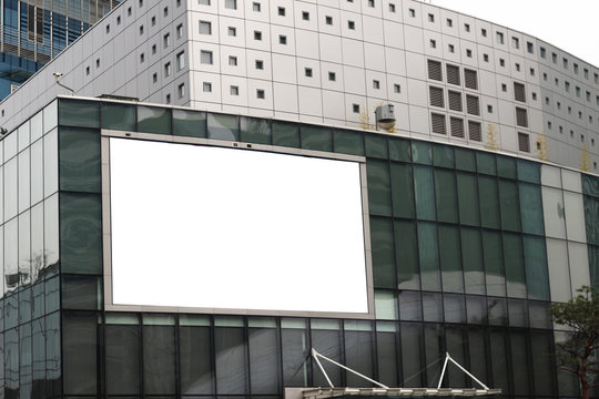 blank big billboard white LED screen on the building.
