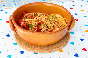 Spaghetti and sea bass