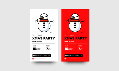 Xmas Party Book Dates UX and UI App Phone Screen with Snowman Illustration
