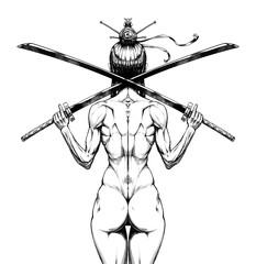 Female samurai with two Katanas