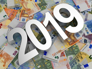 The silver number of 2019 New Year against the background of euro bills. 3D illustration