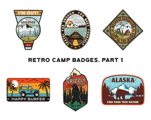 Set of retro Wanderlust Logos Emblems. Vintage hand drawn travel badges. Different camp, forest activities scenes . Included custom adventure quotes. Stock hike insignias isolated on white