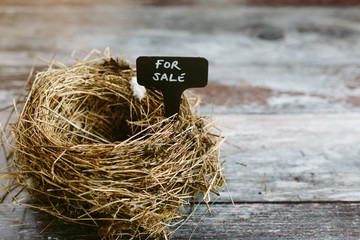 Empty nest with a For Sale sign. Real Estate concept.