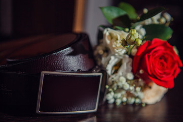 Men's accessories on a dark background close-up