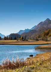 Wall Mural - mountain and lake landscape with idyllic alpine village in colorful golden fall colors