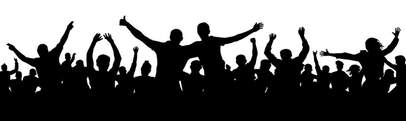 Cheerful people having fun celebrating. Group of friends, youth. Crowd of fun people on party, holiday. Applause people hands up. Silhouette Vector Illustration