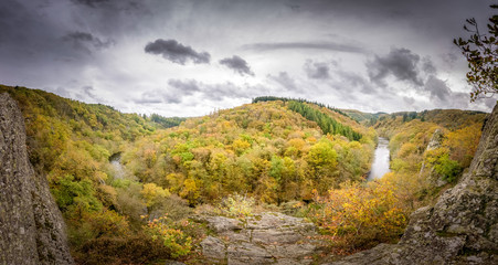 Beautiful panorama at viewpoint from Le Herou over the Ardenne hills shaped by the Ourthe river