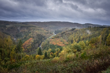 Colorful panorama from the Ourthe valley at autumn time Ardennes Belgium