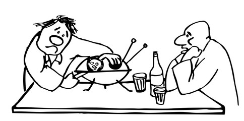 Two drunk men open a flying saucer thinking it's an oyster. Hand drawn illustrations for coloring