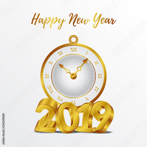 happy new year poster banner template with gold number and classic gold clock vector illustration