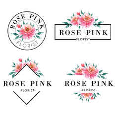 Feminine logo set in watercolor rose pink
