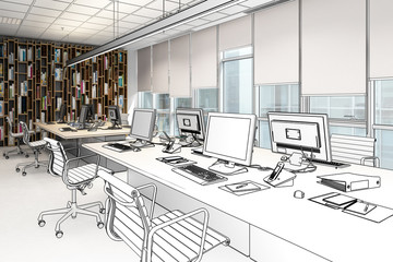 Computer Workplace Inside a Business Center (drawing) - 3d illustration