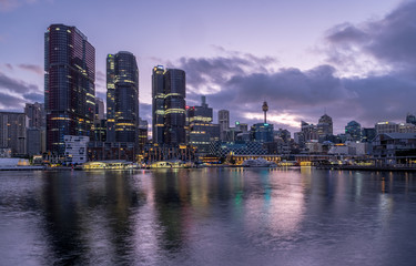 Sydney's Barangaroo office towers and city under dawn clouds