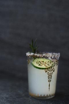 Lime margarita on dark background
