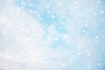 abstract blue bokeh defocused background. Winter with snow