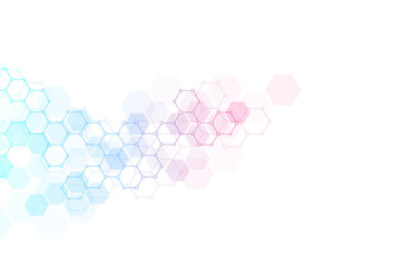 Geometric background texture with molecular structures and chemical compounds. Abstract background of hexagons pattern. Illustration for medical or scientific and technological modern design.