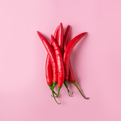 Canvas Prints Hot chili peppers Creative layout of chili pepper on pink background. Minimal food concept.