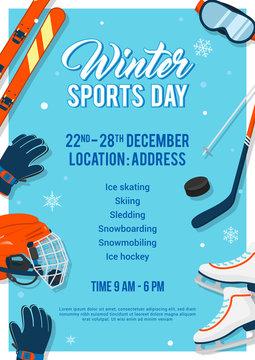 Winter Sports Day poster invitation Vector illustration. Winter sport equipment on blue background.