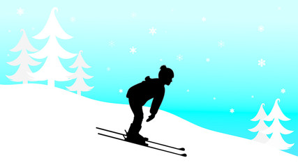 Vector silhouette of child who skiing in the mountains in winter.