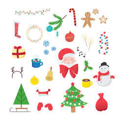 Collection of Christmas decorations isolated on white background. Winter holidays symbols for your design.