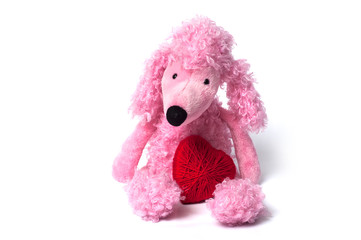 closeup of pink poodle toy with red heart sitting on white background