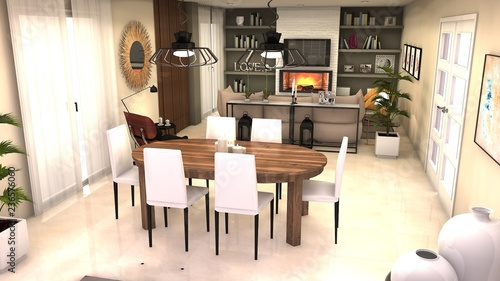 Como Disenar Un Salon Comedor.Proyecto De Diseno 3d Salon Comedor Stock Photo And
