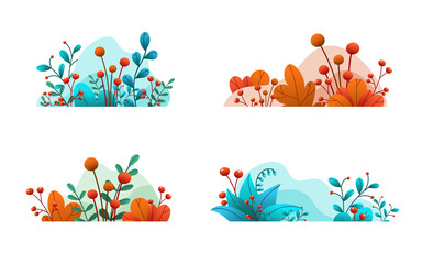 Plant leaves and flowers. Set of abstract natural banners isolated on white background. Intensive floral decorative elements. Hand drawn flat, vector design with gradient