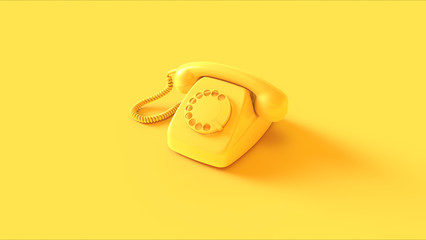 Yellow Telephone 3d illustration 3d render