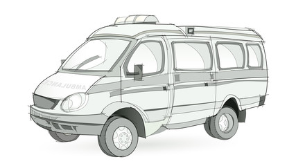 Fantasy illustration of ambulance transport on white background. Model of car for emergency medical care. Hand-drawn vector image.