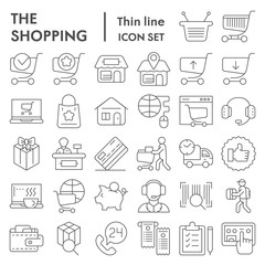 Shopping online thin line icon set, internet store symbols collection, vector sketches, logo illustrations, commercial signs linear pictograms package isolated on white background, eps 10.