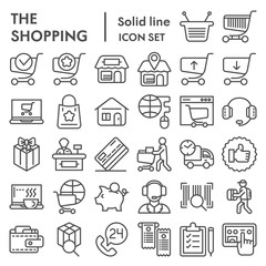 Shopping online line icon set, internet store symbols collection, vector sketches, logo illustrations, commercial signs linear pictograms package isolated on white background, eps 10.
