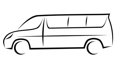 Dynamic vector illustration of a minivan for passengers