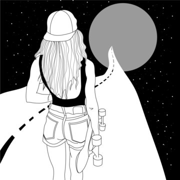 Girl with a skateboard going to the moon in space, space illustration, woman in shorts and cap