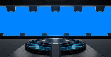 Llanding strip spaceship interior isolated on blue background 3D rendering