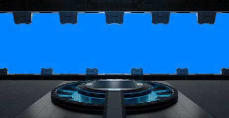 Fototapete - Llanding strip spaceship interior isolated on blue background 3D rendering