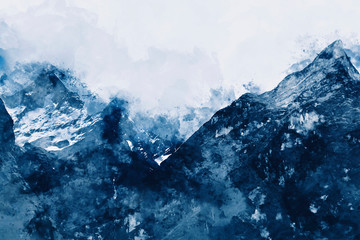 Abstract painting of mountain peaks in blue tone, Digital watercolor painting