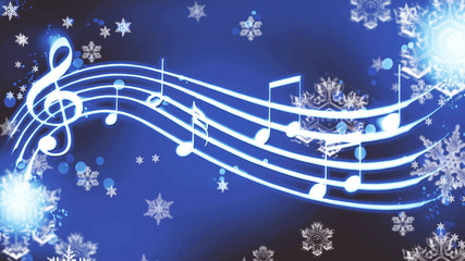 notes on a blue background with snowflakes winter melody