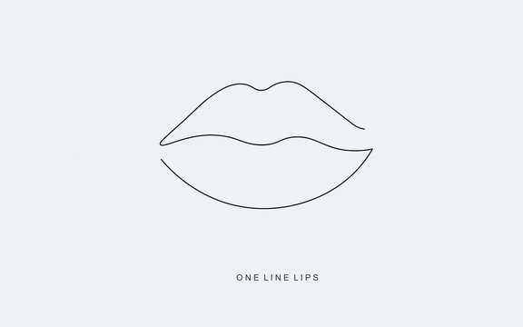 Lipstick kiss. Continuous line drawing. Vector illustration